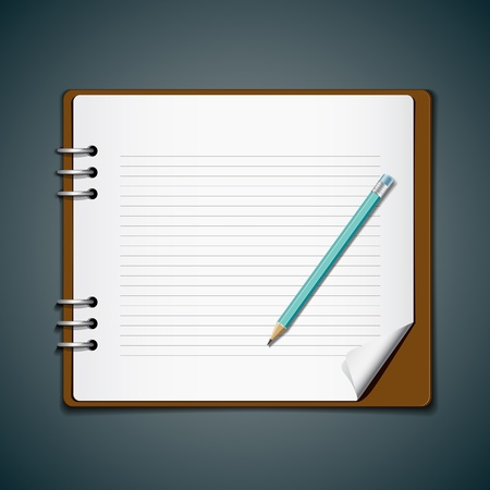 note book: Diary note book and blue pencil for business, vector
