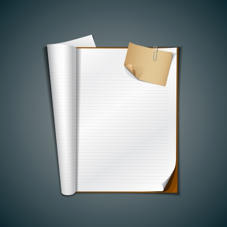 magazine template: Open white book and vintage paper note, vector