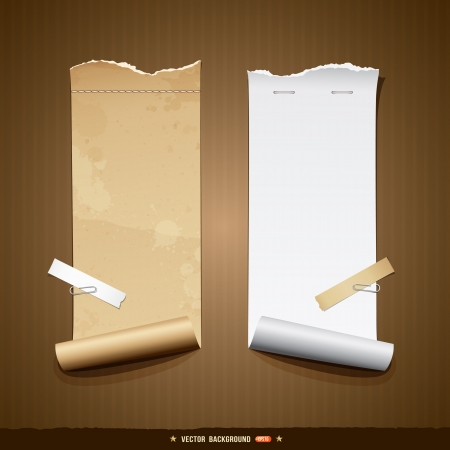 paper tag: Vintage paper roll ripped brown paper and white paper Illustration