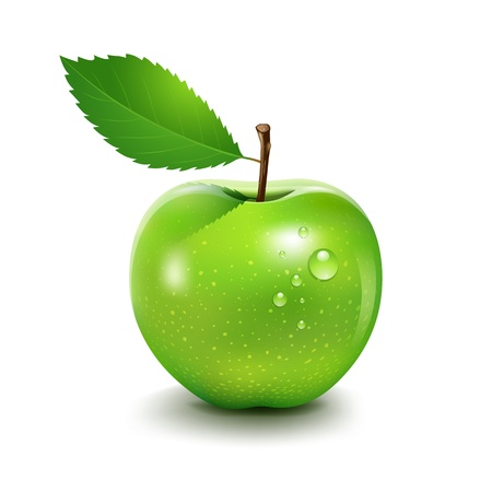 manzana verde: Apple y hoja, ilustración vectorial Vectores