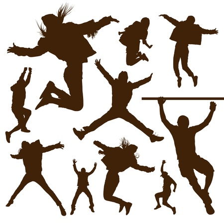 male fashion model: Silhouette people jumping design background