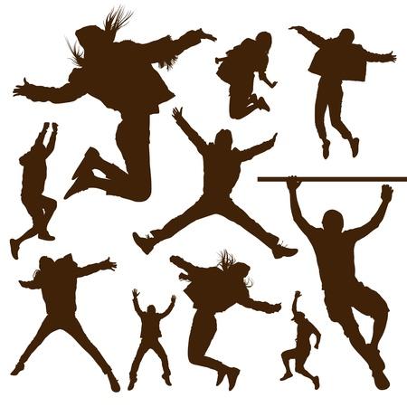 persone che ballano: Silhouette persone saltando disegno di sfondo Vettoriali