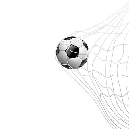 Balón de fútbol en la red. a puerta, ilustración vectorial