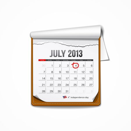July 2013 American independence day calendar Vector