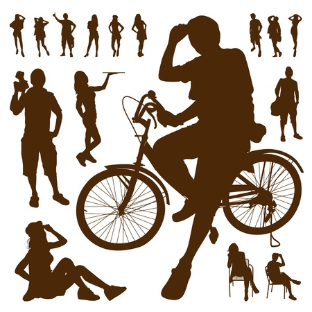 Silhouette people relax action design background Stock Vector - 19116599