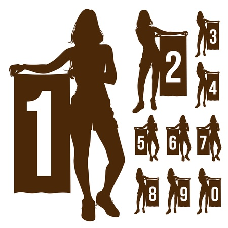 Silhouette woman show number Stock Vector - 19116600