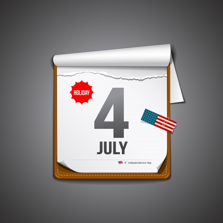 july 4 calendar, independence day american Vector