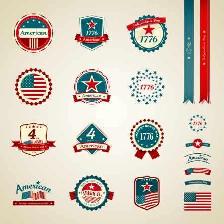 Vintage label independence day american Stock Vector - 19350919