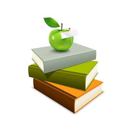 Colorful book and green apple