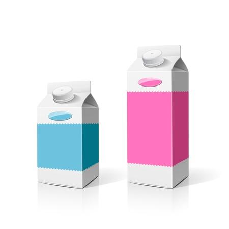 carton de leche: Embalaje caja de leche de colores, ilustración vectorial