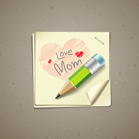 Happy Mothers Day paper note, vector Vector