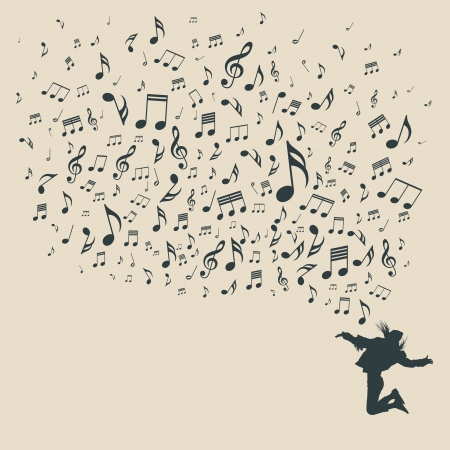 music sheet: Silhouette various musical notes and people dance, vector Illustration