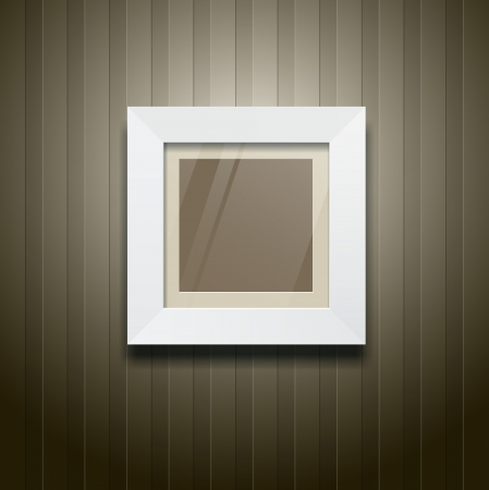 White frame square on wood wallpaper, vector Vector