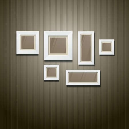 White frame on wallpaper background, vector Vector