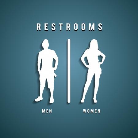 washroom: Los signos lavabo ilustraci�n