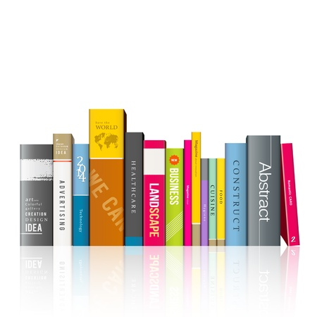 bookshelves: Row of colorful books illustration