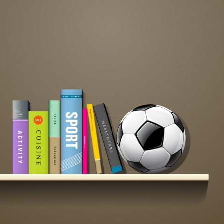 magazine stack: Row of colorful books and soccer ball on shelf