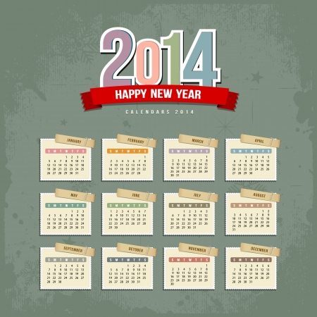 2014 Calendar paper design illustration Vector