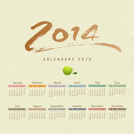 Calendar 2014 text paint brush on paper recycle background Stock Vector - 20682780