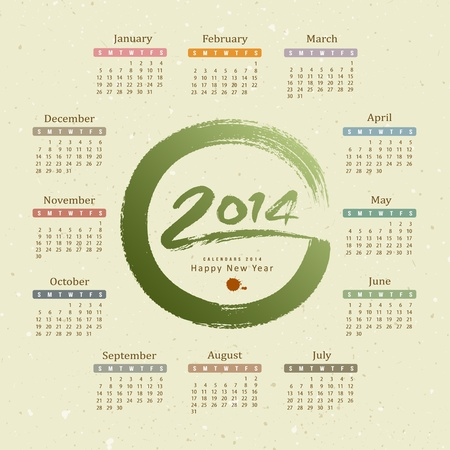 Calendar 2014 text circle paint brush, recycle paper background Stock Vector - 20682644