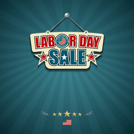 Labor day sale American signs Illustration