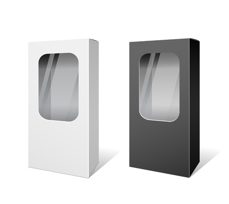 packaging equipment: White and Black box products package design
