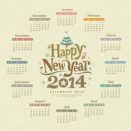 Calendar happy new year text design Vector