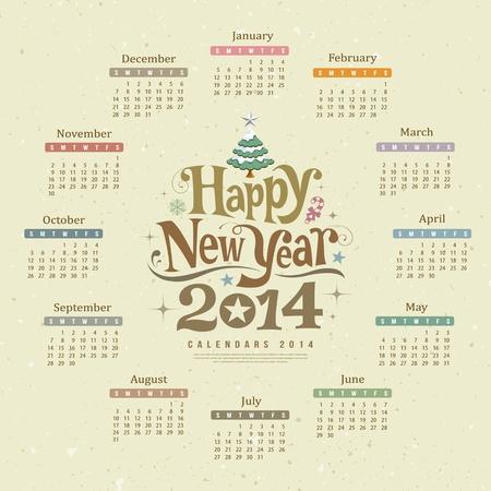 calendari: Calendario felice anno nuovo disegno di testo