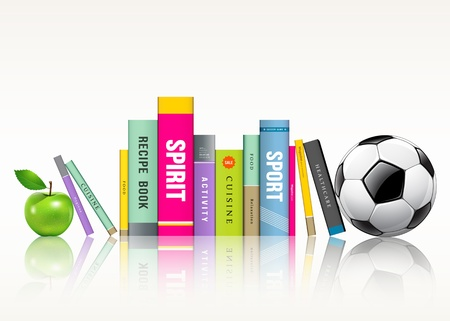magazine stack: Row of colorful books, soccer ball and green apple Illustration