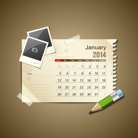 Calendar January 2014, vintage paper note Stock Vector - 21087229