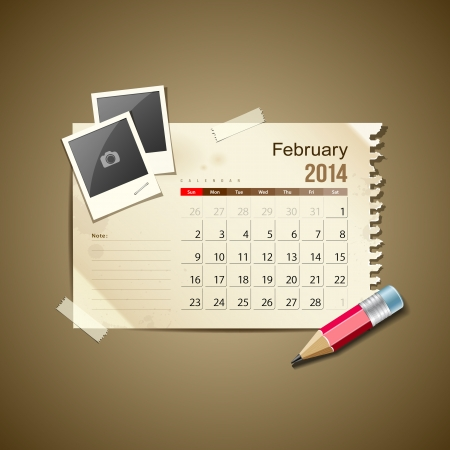 Calendar February 2014, vintage paper note Stock Vector - 21087233