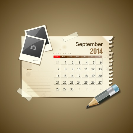 september calendar: Calendar September 2014, vintage paper note Illustration