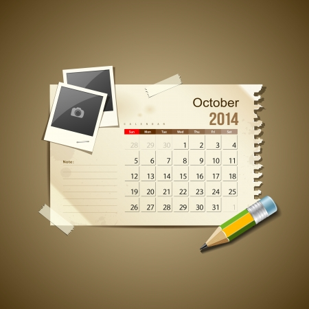 Calendar October 2014, vintage paper note Stock Vector - 21087281