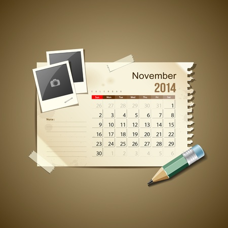 Calendar November 2014, vintage paper note Stock Vector - 21087282