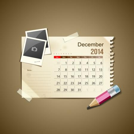 Calendar December 2014, vintage paper note Illustration
