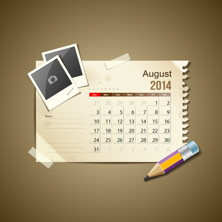 Calendar August 2014, vintage paper note Stock Vector - 21087292