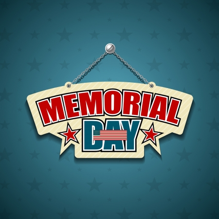 Memorial Day American signs hanging with chain, star background Illustration