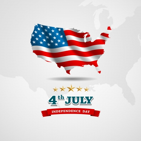 American Flag map for Independence Day  Vector illustration