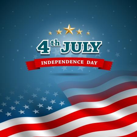 dia y noche: D�a de la Independencia Bandera del fondo del dise�o americano, vector