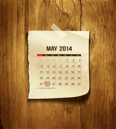 Calendar May 2014, vintage paper on wood background Vector