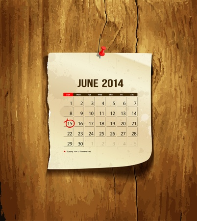 Calendar June 2014, vintage paper on wood background Vector