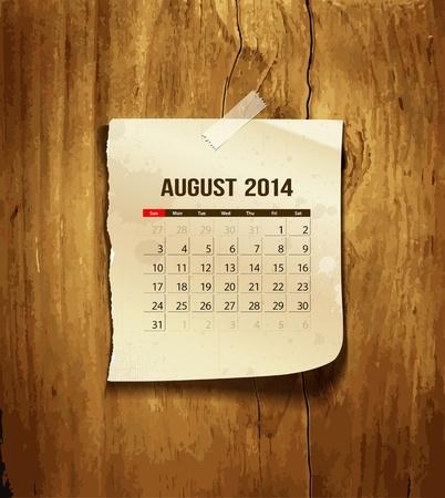 august calendar: Calendario Julio 2014, papel de la vendimia sobre fondo de madera Vectores