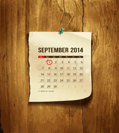 calendario septiembre: Calendario de septiembre de 2014, papel de la vendimia sobre fondo de madera