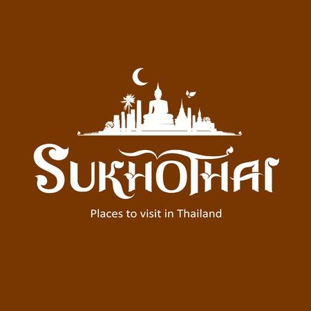 tempels: Sukhothai Province bericht tekst ontwerp, vector Stock Illustratie