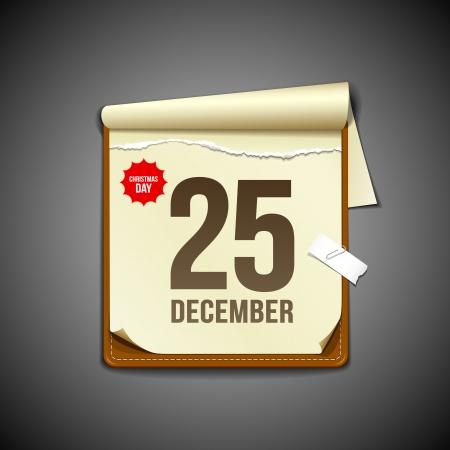 meses del año: Papel diciembre calendario de diseño, ilustración vectorial