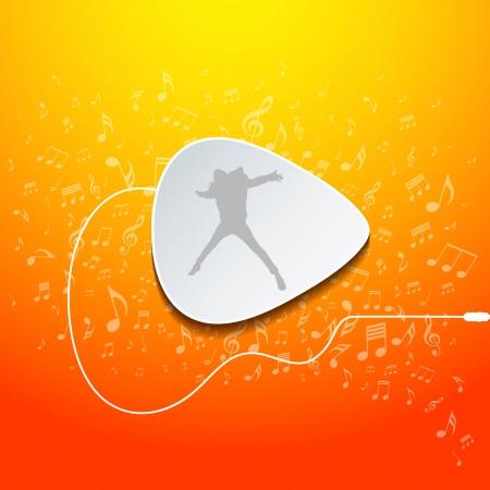 eight note: Pick guitar music design on orange background