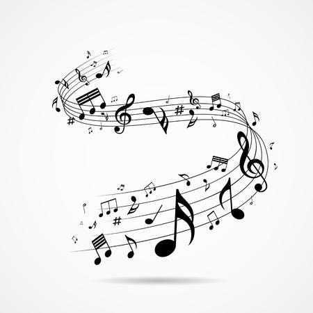 Muzieknoten ontwerp achtergrond, vectorillustratie Stock Illustratie