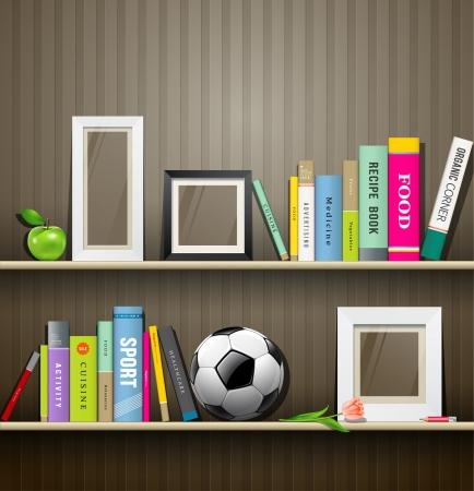 estanterias: Fila de coloridos libros en la estanter�a Vectores