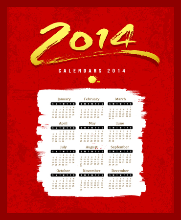 Calendar 2014 text paint brush on red textures background Vector