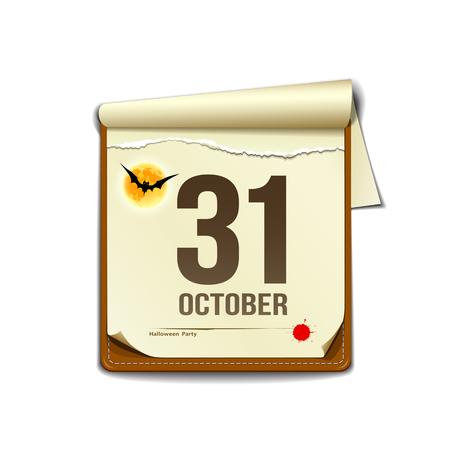 Paper October calender in halloween party design Illustration